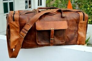 Leather Sports Bag  Large Men Brown Vintage Travel Luggage Duffel Gym Bags Tote
