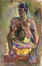 """Russischer Realist Expressionist Öl Leinwand """"Mann mit Kanne"""" 90 x 59 cm"""