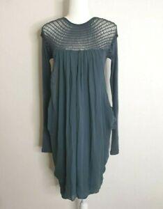Spencer Lacy Blue Boho Mesh Silk Blend Dress Size Medium