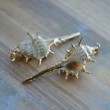 Real Whelk Shell Pendant w/ 24k Gold Plating, Large Plated Pearl Sea Shell Charm