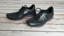 PRADA Trainers Shoes Black Leather Mens UK 6 EU 39   Lace Up   Made In Italy