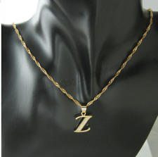 18ct Gold Filled Initial Z Necklace, Alphabet Letter Pendant Chain Topaz Dainty