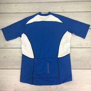 Louis Garneau Cycling Jersey Size Large Mens Blue White Full Zip Short Sleeve LG