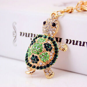 Fashion Women Turtle Shaped Keychain Crystal Keyring Handbag Bag Pendant Gift