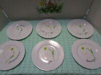 Limoges France Daisy Porcelaine De Sologne Plates Dessert Set 6 *EUC* Pierrette