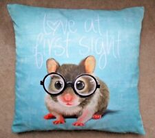 Cute  'LOVE AT FIRST SIGHT' Mouse Glasses Teal Blue Green Cushion Cover FREEPOST
