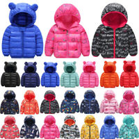 Toddler Kids Boys Girls Hooded Coat Jacket Windbreaker Warm Outerwear Overcoat