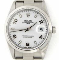 Mens Rolex Date Stainless Steel Watch Oyster Bracelet White Arabic Dial 15200