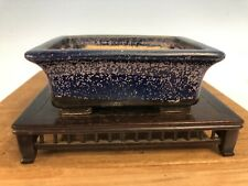Dark Purple And Blue Glazed Shohin Size Heian Kosen Bonsai Tree Pot 4 3/4�