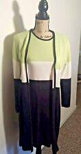 MHM Womens Knit Dress Sz M Long Jacket 2 Pce Set Above Knee Navy White Green