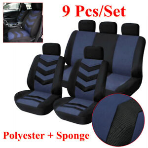 9* Car Seat Back Head Covers Front & Rear Four Seasons Polyester Sponge Washable