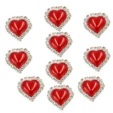 10pcs Flatback Pearl Heart Embellishment Button for Scrapbooking Bright Red