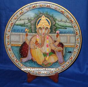 "12"" Marble Plate Ganpati bappa Ganesha Hand Painting Religious Wishes Arts Gifts"