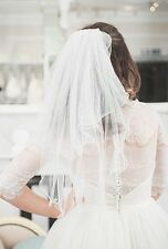 Wavy wired, Vintage Style, Two Tier, Fine soft tulle, Elbow Length, pale ivory