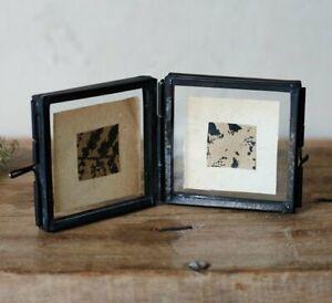 Nkuku TINY DANTA Folded DOUBLE Sided PHOTO FRAME Antique BLACK MINI 4.5x4.5cm