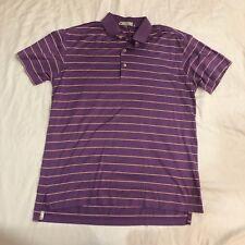 Peter Millar Mens Small Purple/Orange Striped S/S Golf Polo