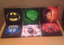 6 X SUPER HERO LOGO CANVAS PICTURES 6 X 6 (Joblot 9 )