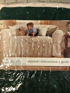VINTAGE surefit slipcover for sofa- Hunter Green- never used-  NEW