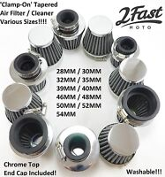 Chrome Clamp On Air Filter Cleaner Custom Kawasaki Chopper Bobber Road Cafe Race