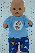 """Play n Wear Doll Clothes To Fit 17"""" Baby Born  BONE/PAW PATTERN PANTS~T-SHIRT"""
