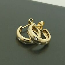 Brand New 18ct yellow gold diamond hoop earrings with stud screw back fittings