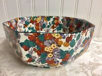 CROWN DUCAL ENGLAND Octagon Bowl Chintz Floral Fruit-Red Lavender Orange-8""