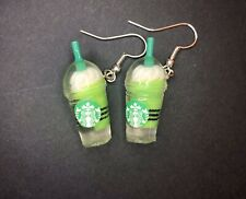 Kawaii Green Tea Matcha Frappuccino Coffee Kitsch  Quirky Funky Dangle Earrings