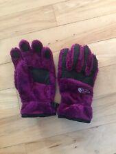 The North Face Girls Magenta/black Fuzzy Fleece Gloves Sz L