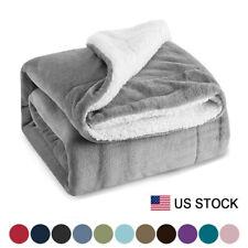 Sherpa Blanket Throw Fuzzy Bed Throws Fleece Reversible Blanket for Sofa