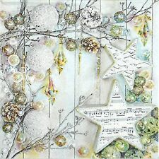 4x Paper Napkins for Decoupage Craft Vintage Silver Christmas