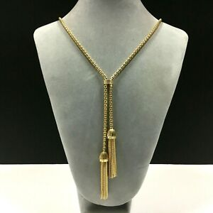 New J. CREW Lariat Necklace Shiny Gold PL Double Tassels LONG Chain ii221Y