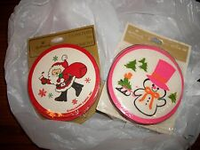 Vintage Hallmark Coasters / Lot of Two Packages  NEW Santa & Snowman CUTE!