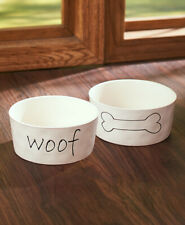 2 Piece Dog Bowl, Woof And Dog Bone, Ceramic, Simply Stated Pet Collection
