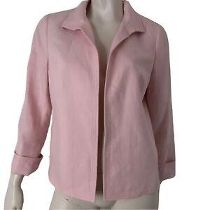 Talbots Jacket Blazer Linen Spring Pink Long Sleeve Women Size 10 Petite