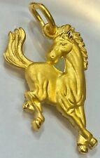 24K Solid Yellow Gold Horse Pendant 4.5 Grams - Adult Women Or Men