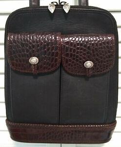 Brighton Black Leather Brown Croc Crossbody Organizer Shoulder Bag