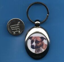 Staffordshire Bull Terrier KEYRING TROLLEY COIN DOG