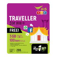 AIS Traveller Thailand Tourist 3GB/8 Days 4G/3G Voice Data PAYG Prepaid SIM