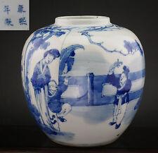 GOOD Antique Chinese Blue and White Porcelain Figure Vase Jar 19th C KANGXI Mark