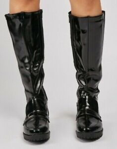 Black Knee High Boots Wide Calf Size 5 Womens Patent Low Heel Chunky Sole Zip