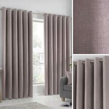 Blush Eyelet Curtains Pink Block-Out Thermal Ready Made Ring Top Curtain Pairs