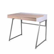 PAOLA Bureau avec tiroirs blanc effet bois acier de rangement effet bois chêne