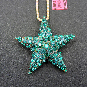 Exquisite Green Crystal Starfish Pendant Betsey Johnson Chain Necklace/Brooch
