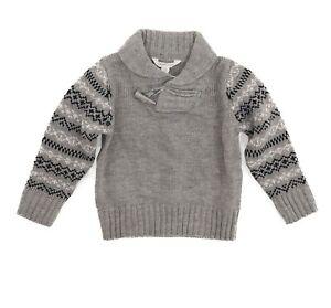 Pumpkin Patch Boys Sweater Top Size 3 Shawl Collar Fair Isle Gray NEW  B65