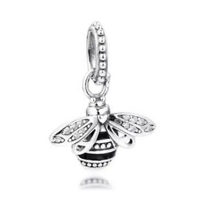 QUEEN BEE DANGLE CHARM GENUINE 925 STERLING SILVER GIFT 💜💛💜