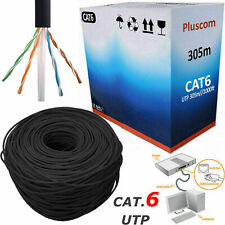 More details for 305m rj45 cat6 network ethernet lan cable outdoor 4 pair utp adsl roll reel box