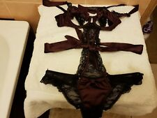Giles Deacon / Ann Summers Georgette Maroon & Black Body Size 8 NWT