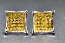 Yellow Diamond Studs 10K White Gold 1/4 CT Round Cut Pave Kite Shaped Earrings