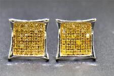 Yellow Diamond Tachas Ouro Branco 10K 1/4 Ct Round Corte Em Forma De Brincos Pave Kite