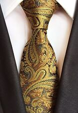 New Classic Paisley Gold Brown Black JACQUARD WOVEN 100% Silk Men's Tie Necktie